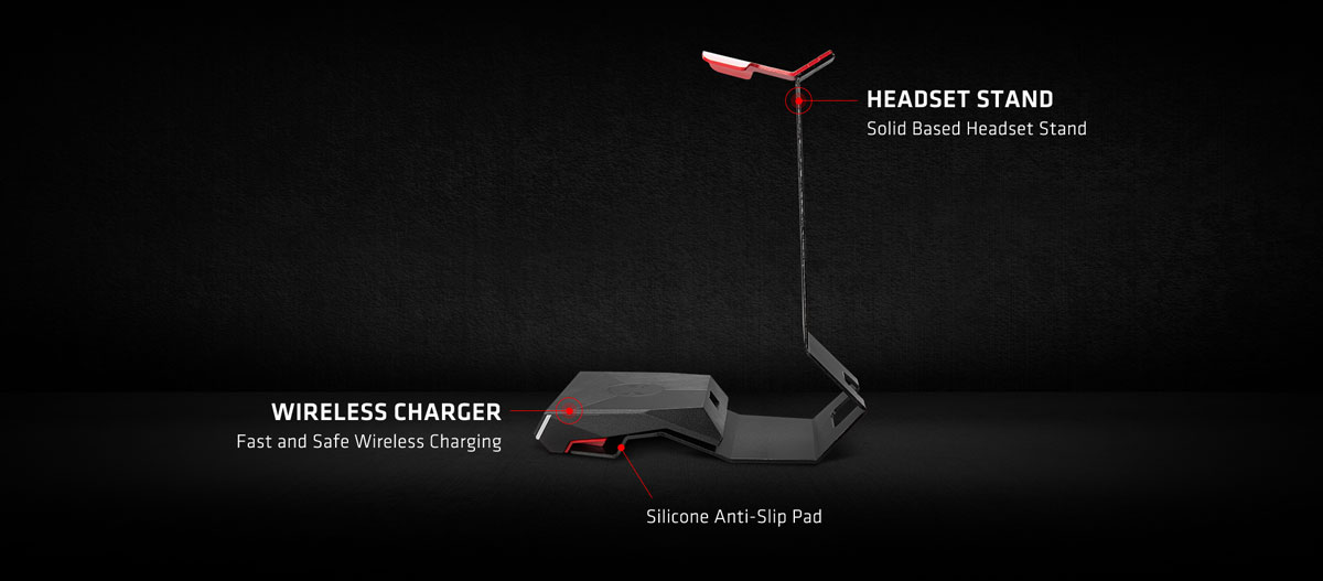 HEADSET STAND + WIRELESS CHARGER