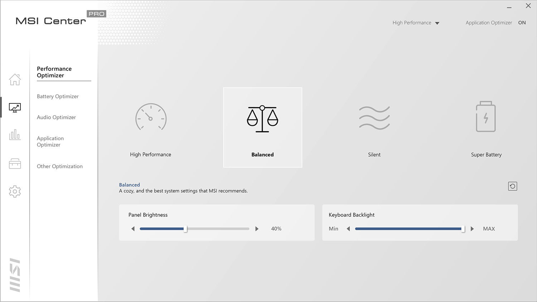 MSI Center- UserScenario