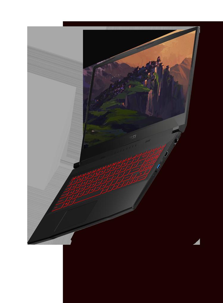 msi katana laptop with different angle