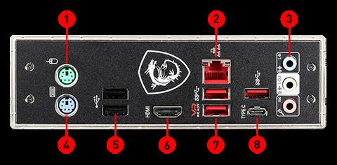 MSI MAG B365M MORTAR back panel ports