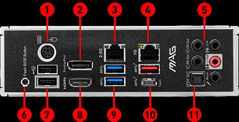 MAG B550 TOMAHAWK back panel ports