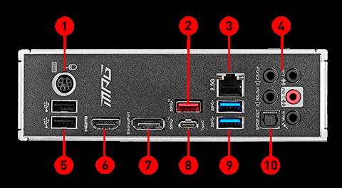 Puertos del panel posterior MPG Z490 GAMING PLUS