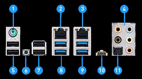 MSI X299 PRO 10G back panel ports