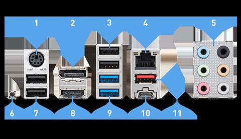 MSI Z590-A PRO arka panel bağlantı noktaları
