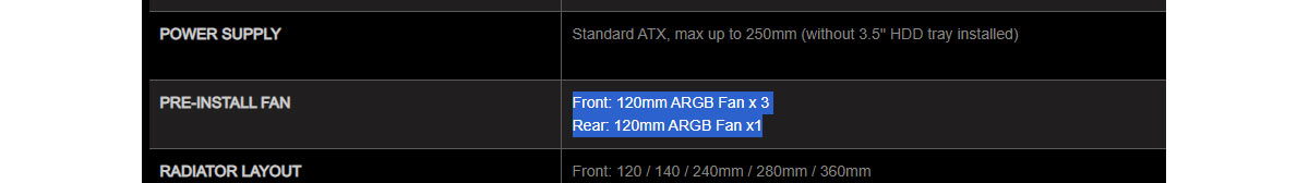 Find the row that lists pre-installed fans