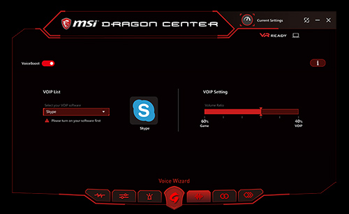 Voiceboost settings in MSI Dragon Center