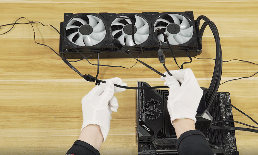 Connect the 3 fan cables to their respective fans