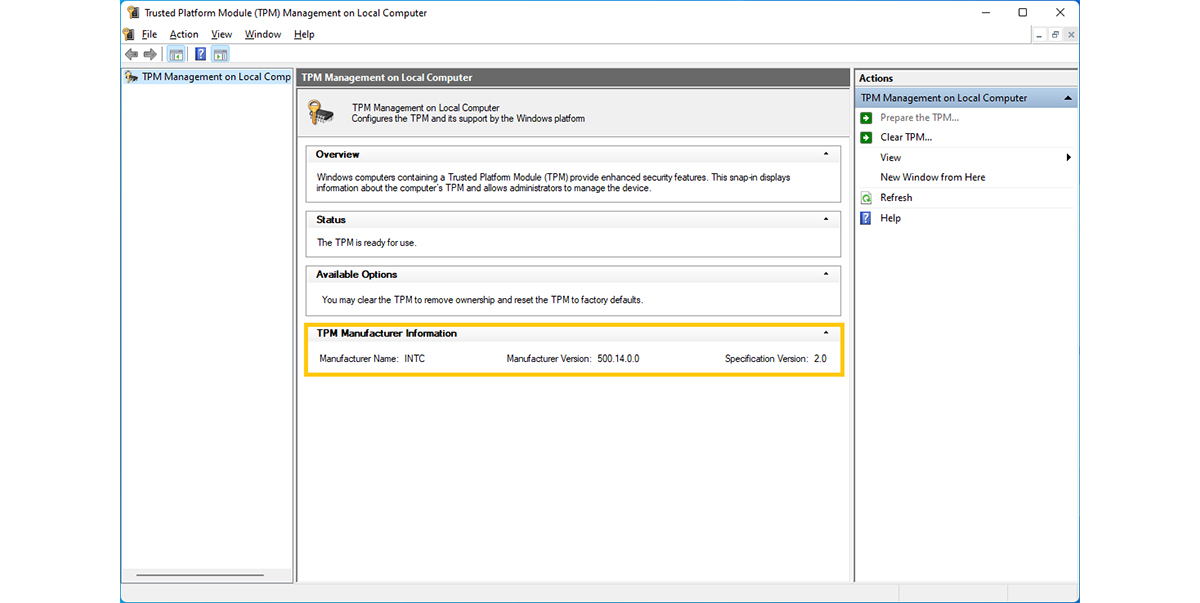 Confirm TPM version in Windows.