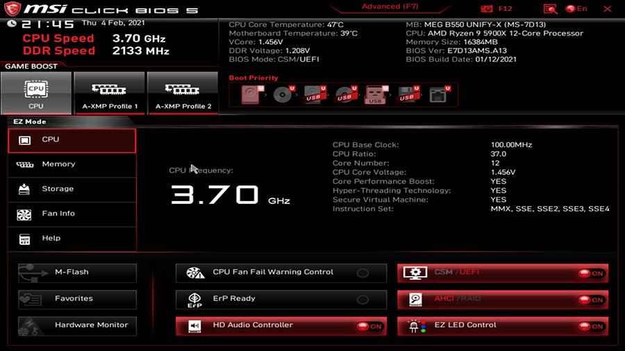 CPU and DDR4 memory