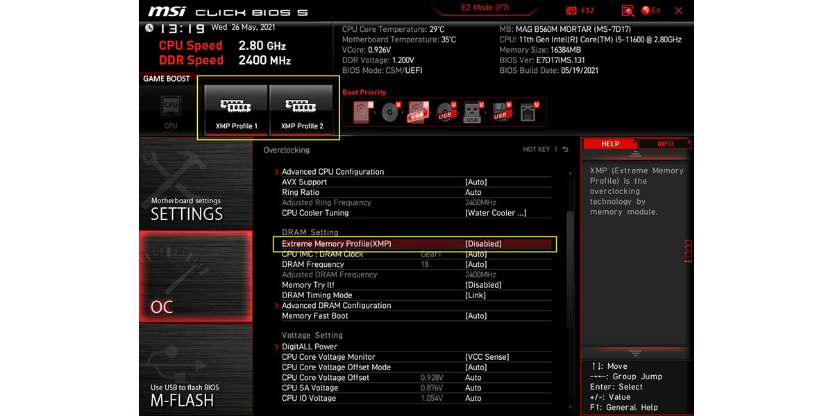 XMP can be enabled by clicking on the XMP button in BIOS