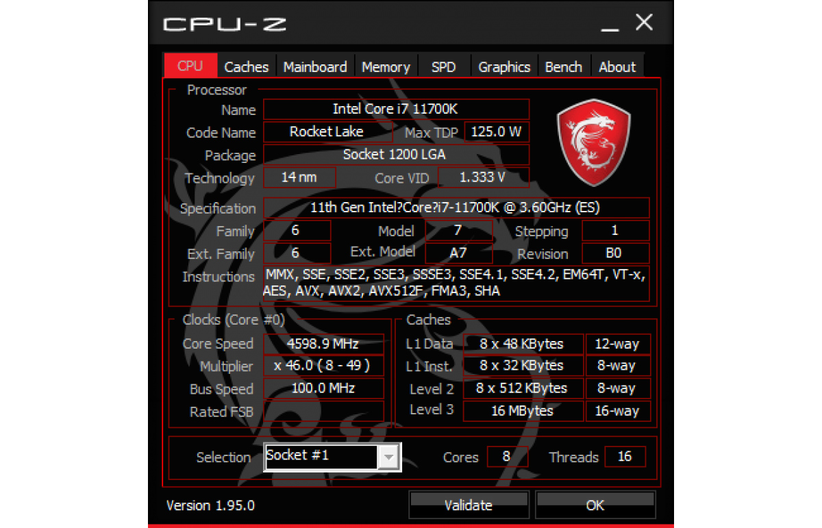 CPU (Processor) tab example<