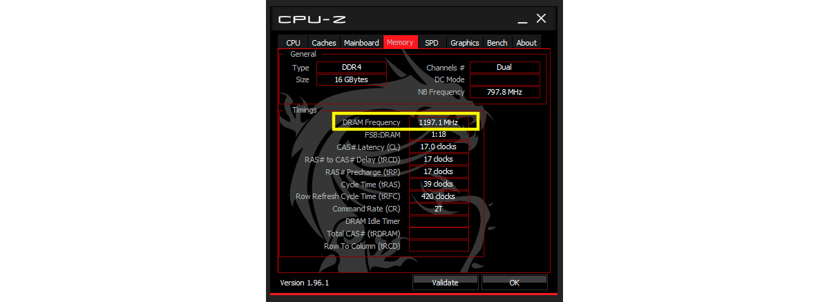 You can check the current working frequency of the memory on the Memory tab<