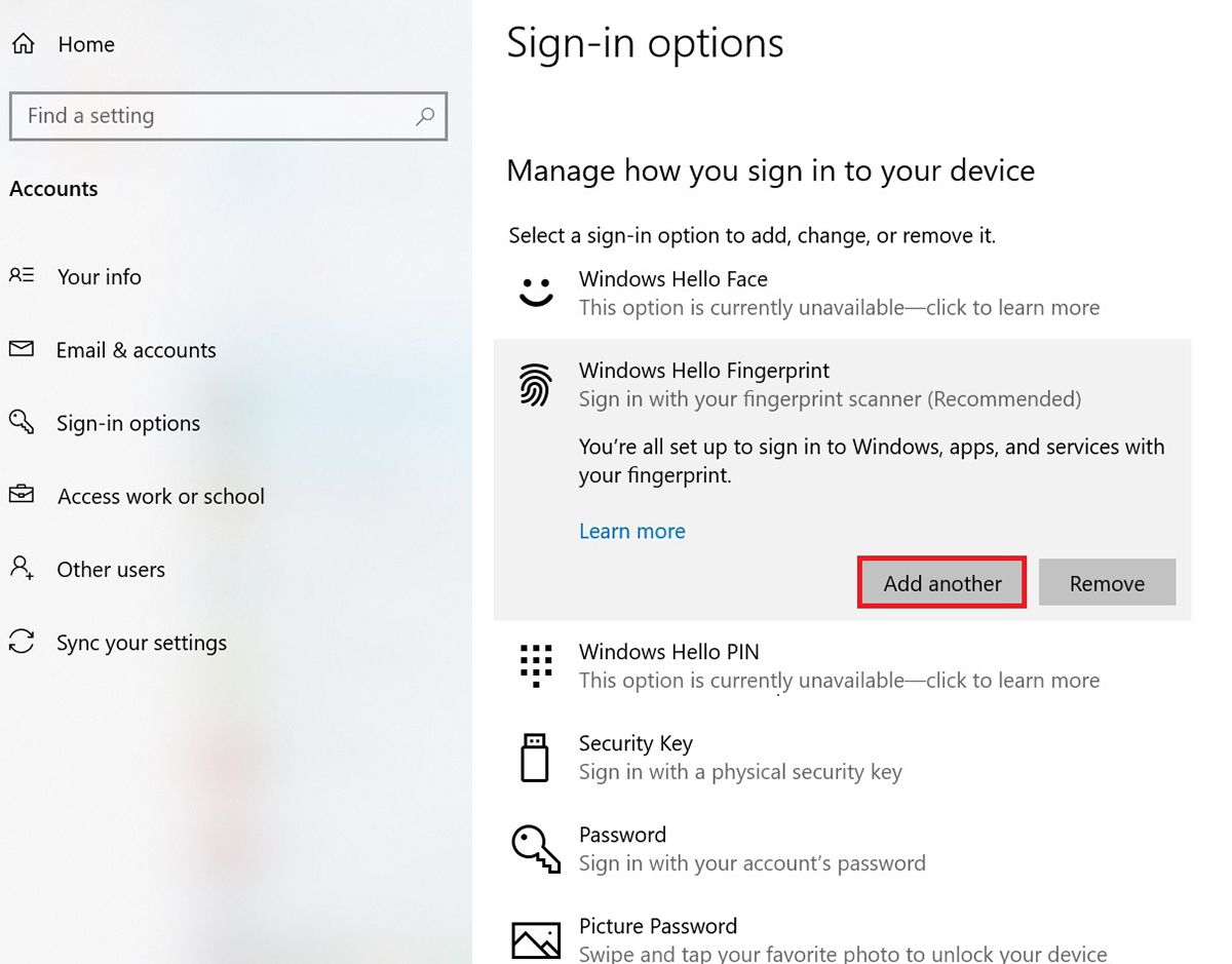 click【Windows Hello fingerprint】and click【Add another】
