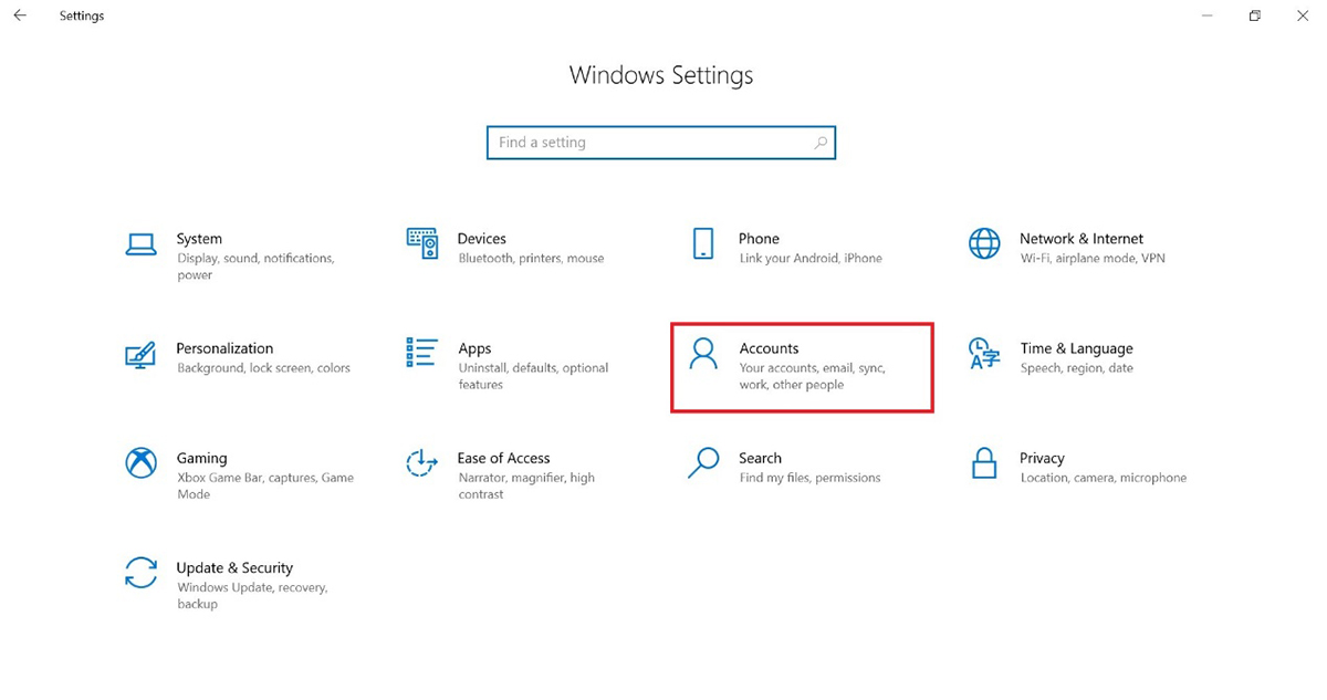 Go to【Windows Settings】and click【Accounts】