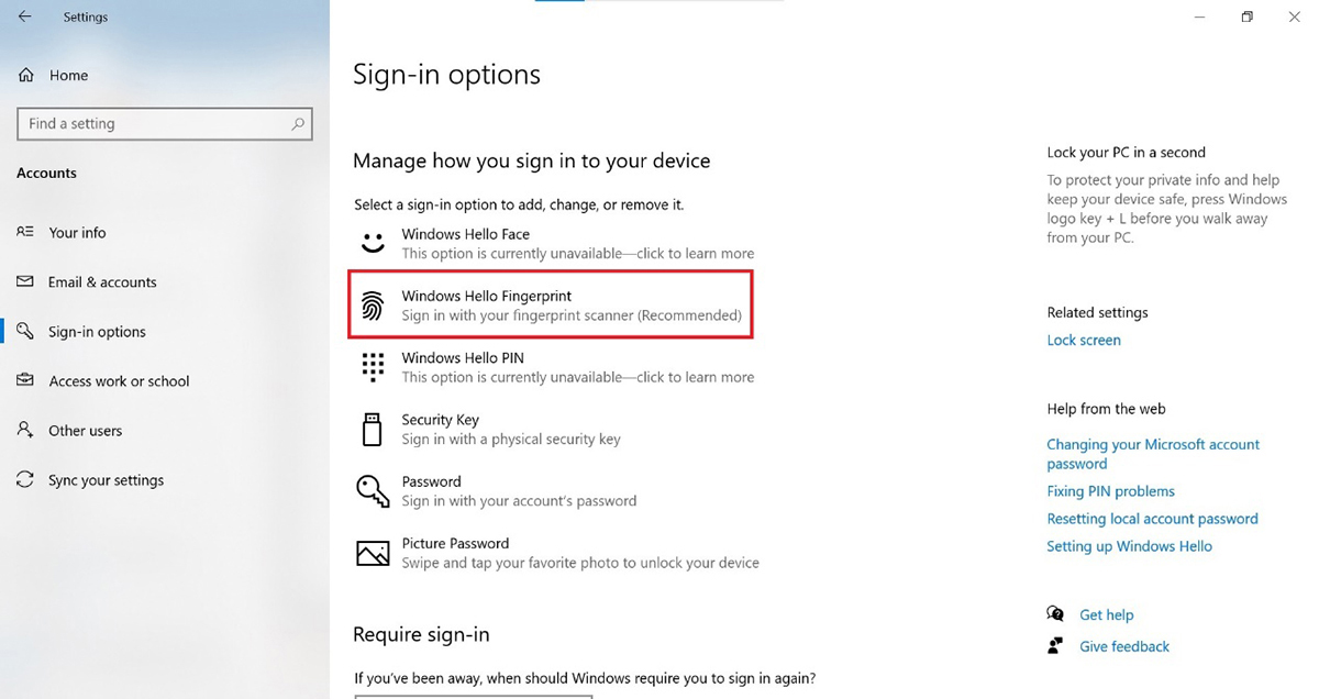 Go to【Sign-in options】and click【Windows Hello Fingerprint】