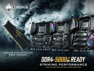 The Best Match for Extreme Memory Performance, MSI X570 Motherboards with CORSAIR VENGEANCE LPX – Breaking the 5,000MHz Barrier for DDR4 Memory