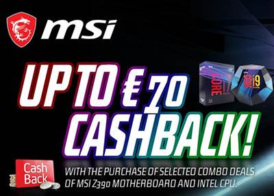 MSI vous offre jusqu'à 70€ de cashback sur une sélection de combo carte mère MSI Z390 et processeurs Intel