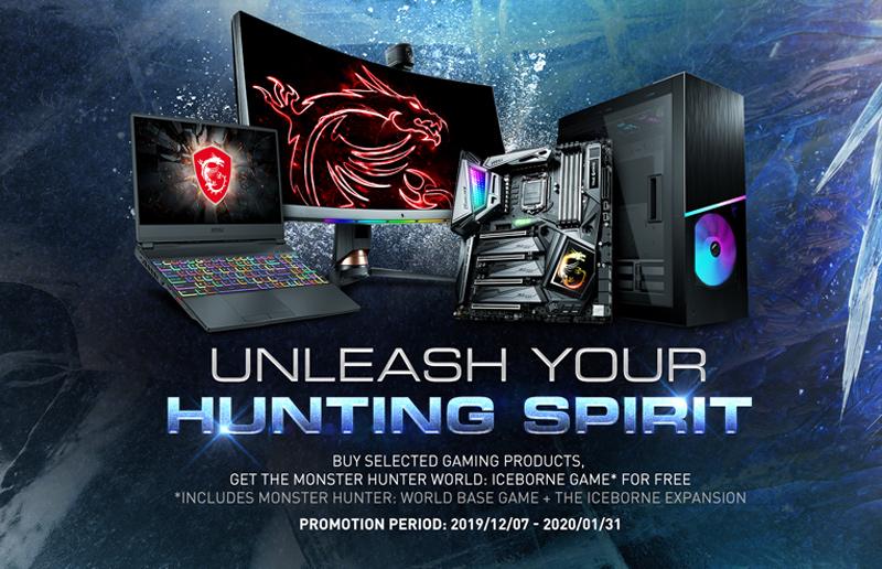 "MSI presents Monster Hunter World: Iceborne game bundle ""UNLEASH YOUR HUNTING SPIRIT"" as Christmas promotion on December."