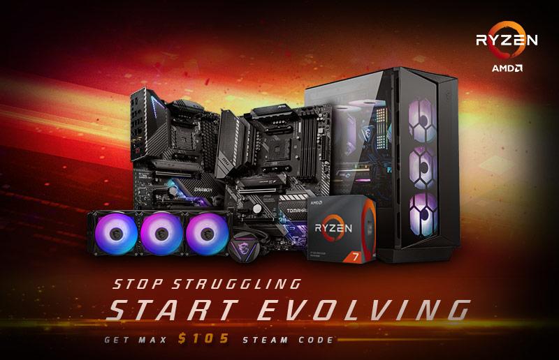 Pour l'achat de packs de produits MSI et AMD Ryzen éligibles, MSI vous offre un code Steam pouvant aller jusqu'à 100 €