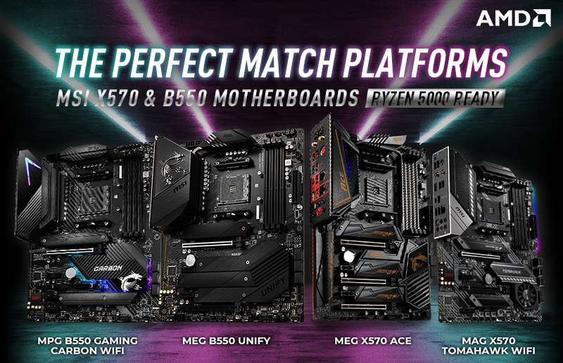 MSI X570 and B550 Platforms – Perfect Matches for AMD 5000 Series Desktop Processors