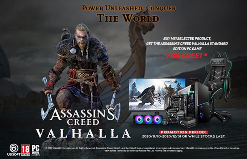 MSI x UBISOFT Fire up Assassin's Creed Valhalla Co-Branding with Bundle and In-Game Optimization