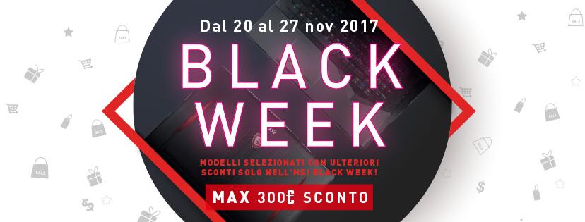 MSI annuncia l'iniziativa promozionale Black Week con sconti fino a 300 euro su diversi modelli di notebook