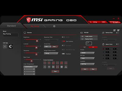 En octubre, la App MSI Gaming OSD ofrecerá un modo optimizado para las tarjetas gráficas RTX con Trazado de Rayos