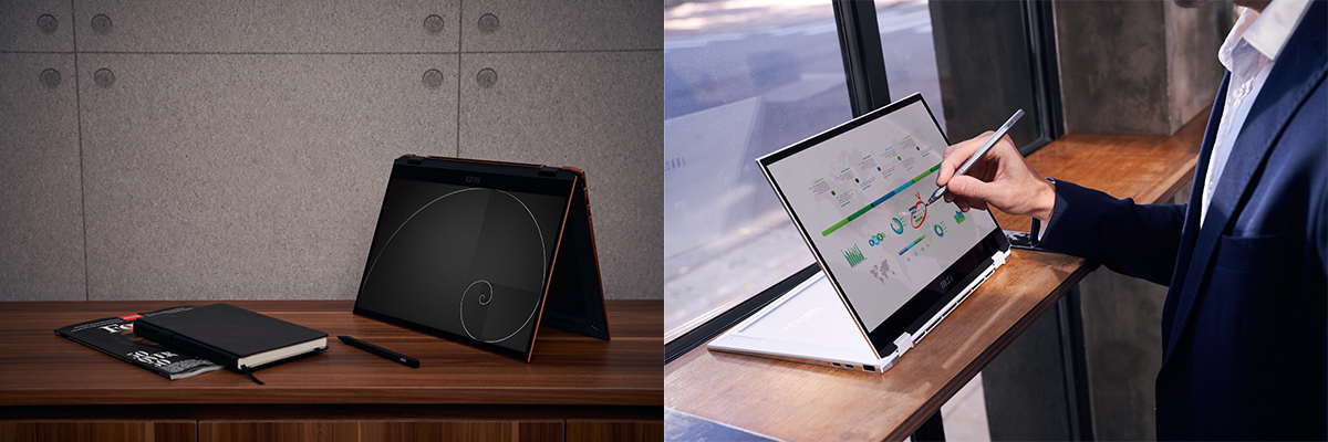 Summit E13 Flip Evo採用360度翻轉設計,搭配使用專屬MSI Pen能完美融入各種工作情境