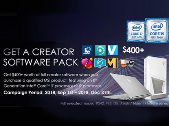Отримайте набір програмного забезпечення вартістю понад $400 при купівлі продукції компанії MSI на базі процесора 8 покоління Intel® CoreTM i7 чи i9.