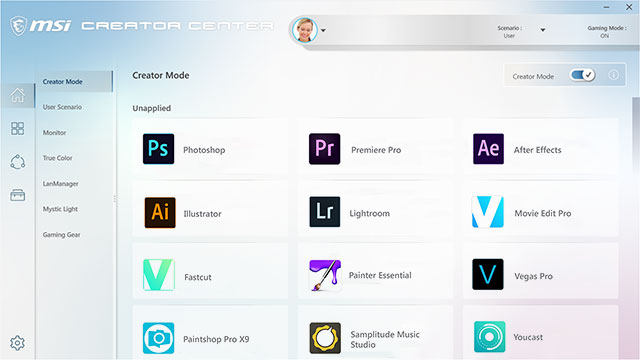 Creator Center Software showing creator mode.