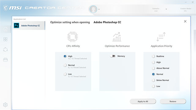 Creator Center Software showing optimization settings.