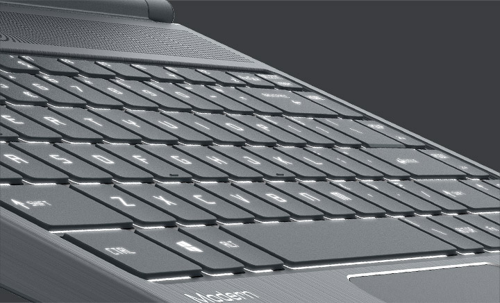 Modern 14 focused on backlit keyboard.