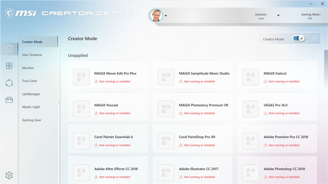 Creator Center Software showing various video software options.