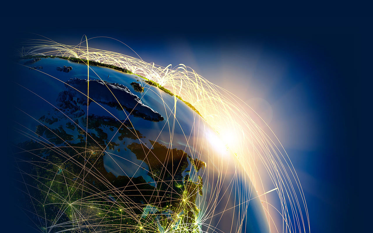 Visual of the world connected via the internet/wifi.