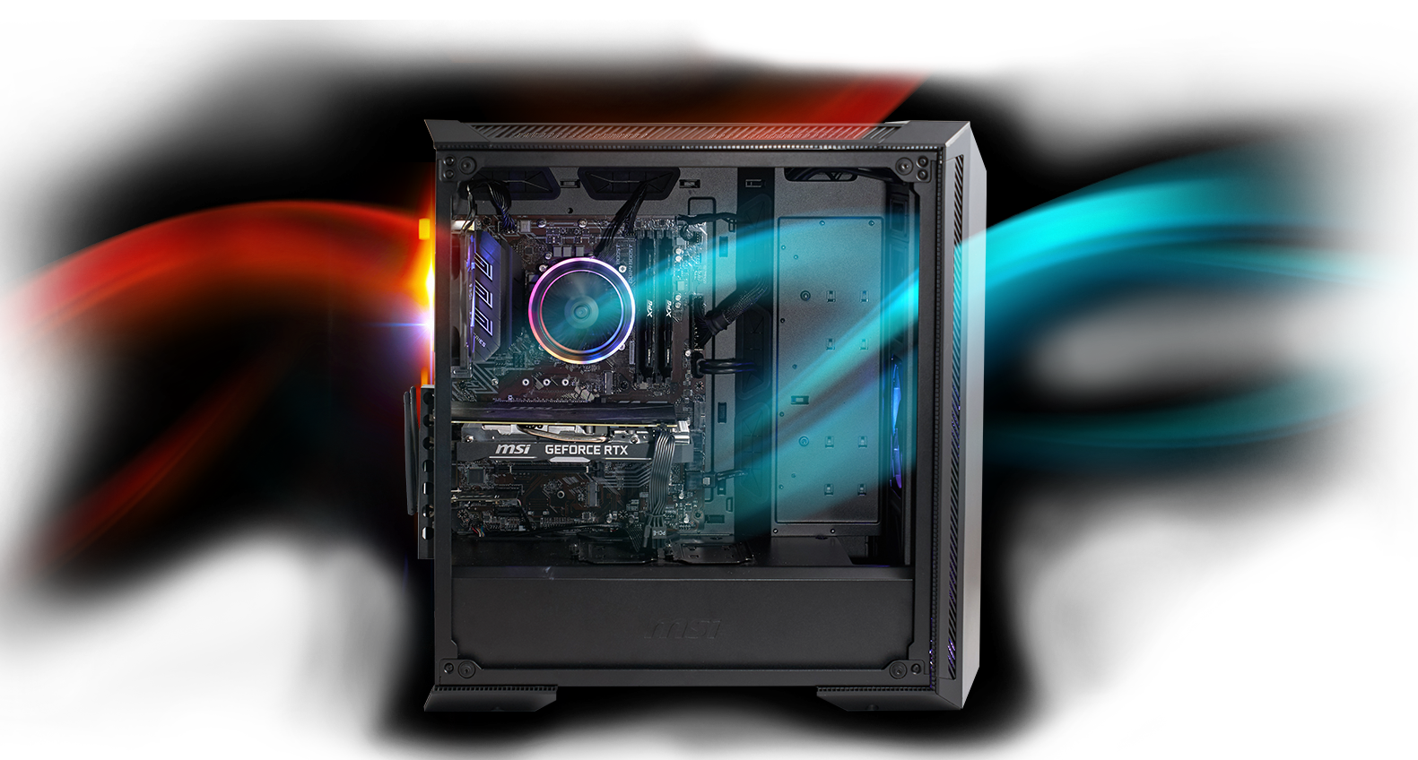 Aegis RS with cool air flowing through the front of the MSI Gungnir Case, and hot air exhausting through the top and back of the case.