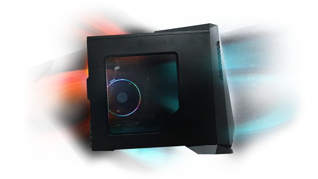 Aegis SE with cool air flowing through the front of the MSI Gungnir 100M Case, and hot air exhausting through the top and back of the case.