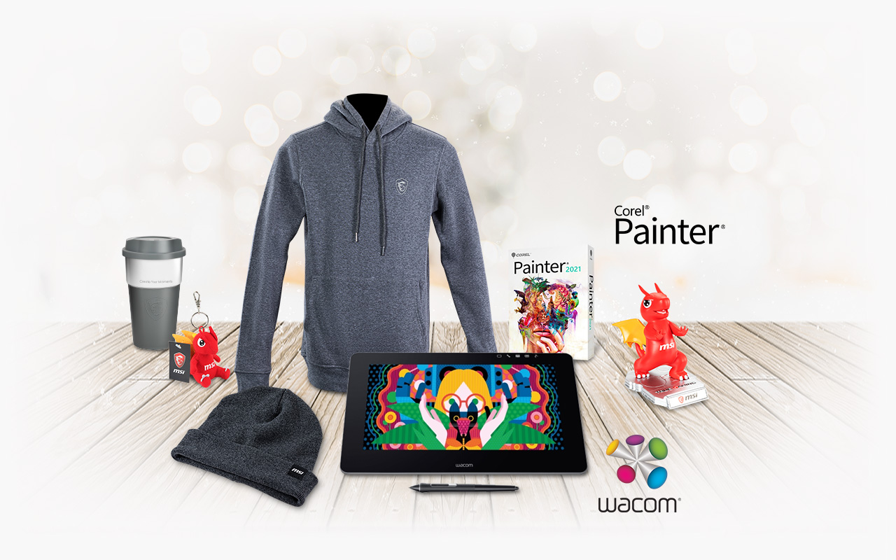 Gift Bundle with MSI apparel, Corel Painter, Wacom Cintiq, Lucky Keychain and Phone Stand.