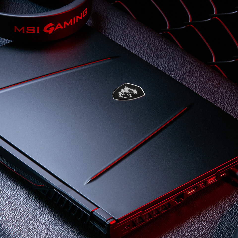 Sleek GE75 Laptop with MSI Gaming headset.