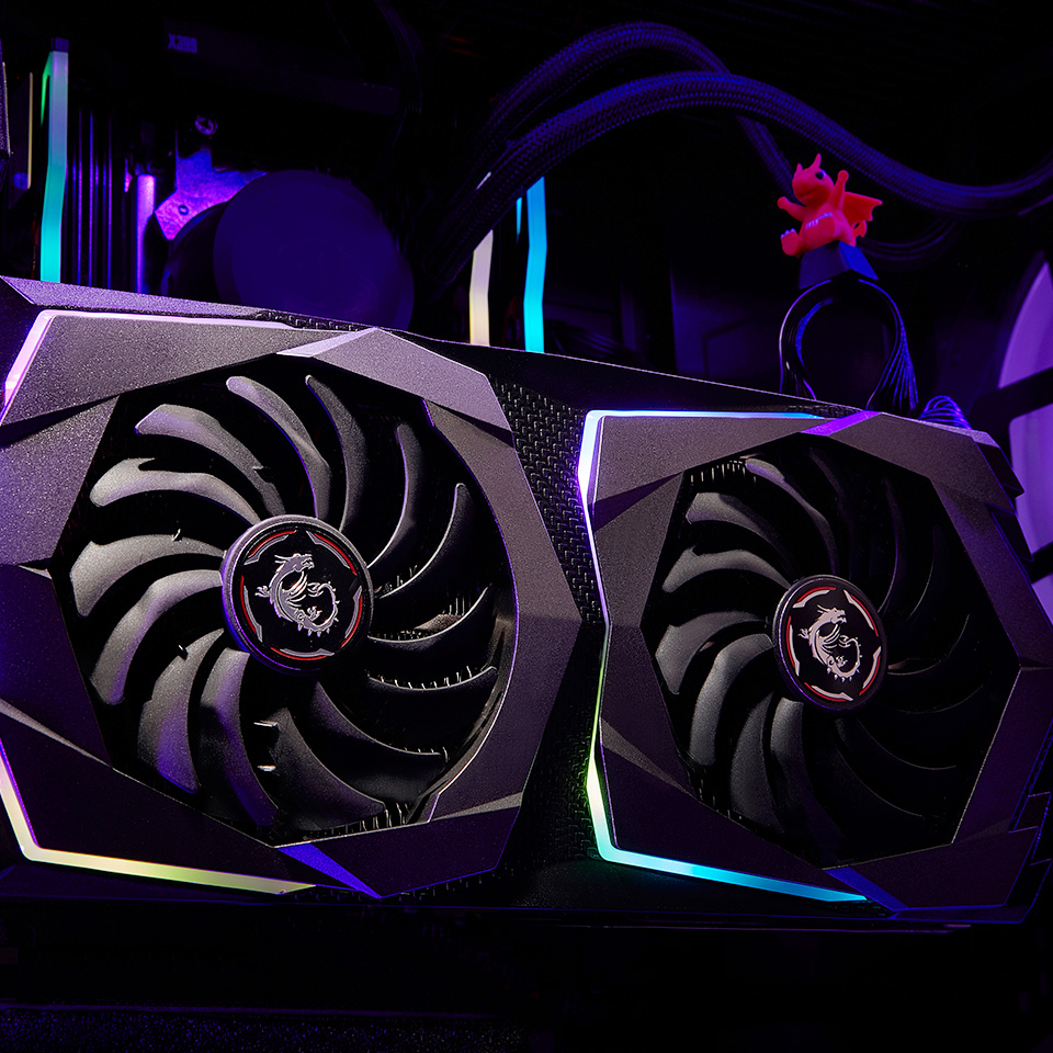 MSI Gaming X RTX video card with rgb lighting.