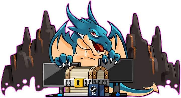 Unlucky the Dragon guarding his prize horde of monitors and steam cards.