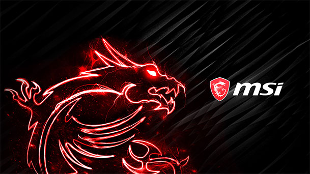 Wallpaper with MSI Logo and Dragon on a black abstract background.