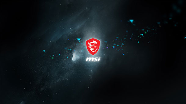 Wallpaper with MSI Logo and Blue Space Background.