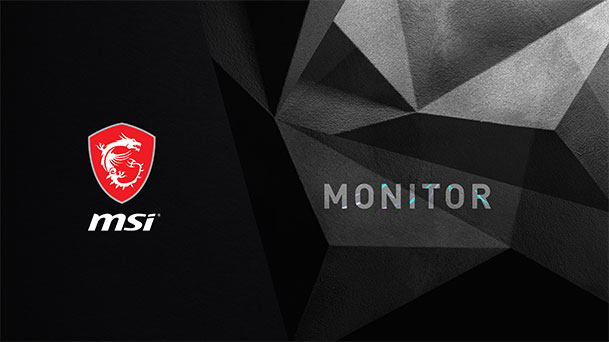 Wallpaper with MSI logo and Monitor Text on a black polygonal background.