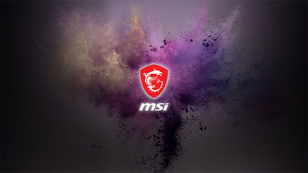 Wallpaper with MSI Logo on a magenta background with a particle explosion.