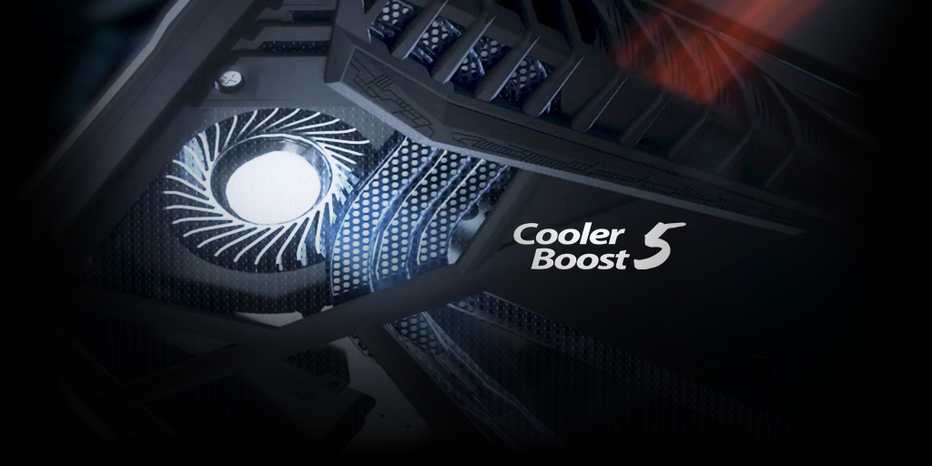 Graphic of cooling fan in GE chasis and the Cooler Boost 5 Logo.