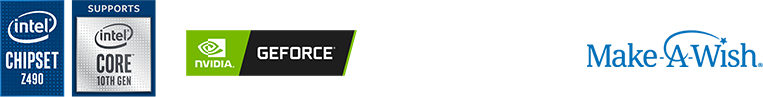 Intel z490 chipset with 10th gen intel processor support logos. NVIDIA Geforce logo. Corsair Logo. Make A Wish Foundation Logo.