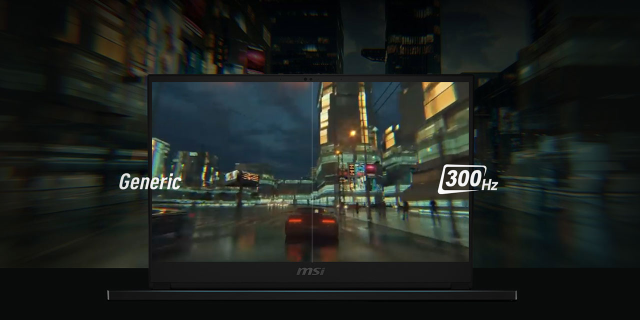 Comparison between generic monitor and the faster 300Hz Refresh Rate on GS66 Stealth.