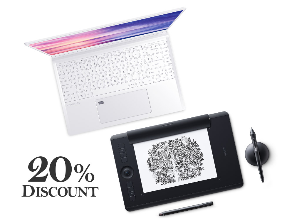 20% Discount callout next to Wacom Intuos Pro Paper.